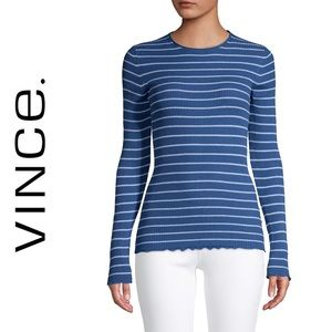 NWT Vince Blue Striped Rib-Knit Sweater
